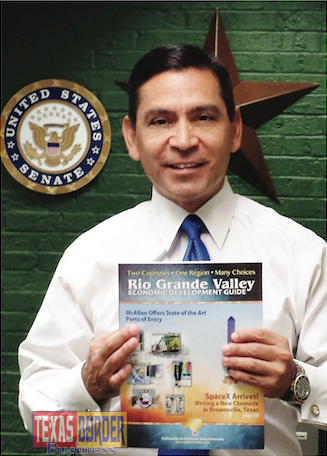 Julian Alvarez, President/CEO of the Rio Grande Valley Partnership holding the guide. The information compiled is priceless for investors.