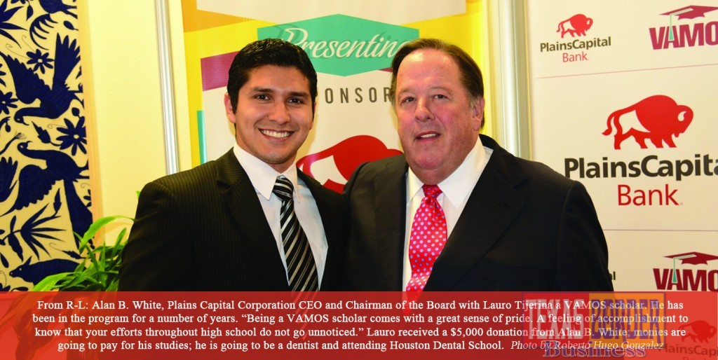 """Pictured above From Right to Left: Alan B. White, Plains Capital Corporation CEO and Chairman of the Board with Lauro Tijerina a VAMOS scholar. He has been in the program for a number of years. """"Being a VAMOS scholar comes with a great sense of pride,"""" he said. He continued to say, """"A feeling of accomplishment to know that your efforts throughout high school do not go unnoticed."""" Lauro received a $5,000 donation from Alan B. White; monies are going to pay for his studies he is going to be a dentist and attending Houston Dental School. (Photo by Roberto Hugo González"""