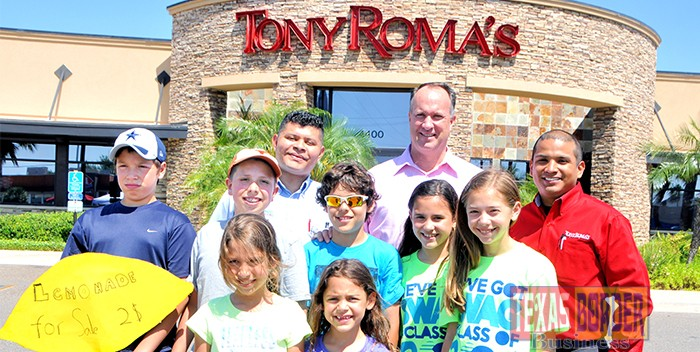 Lemonade Day Tony Roma's: Left to Right, Back to Front, Back Row: The Management Staff at Tony Roma's, Middle Row: Sebastian Turk, Marcos Turk, Kevin Johnson, Victoria Gonzalez, Sydnee Baldree, Front Row Laura Turk, Kayla Johnson (The boys are students at Cathey Middle School, The Girls are students at Gonzalez Elementary).