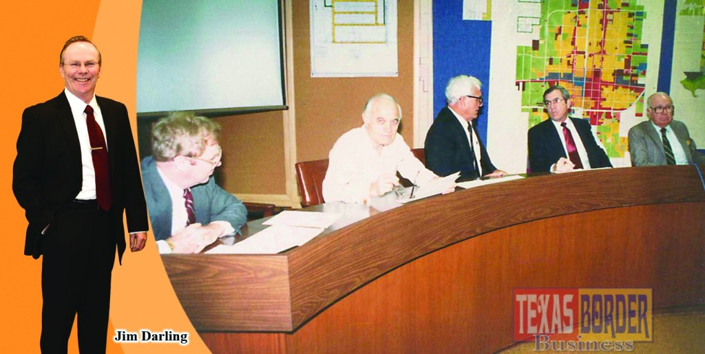 "Photo in the background: Photo taken at a meeting in 1978 while Othal Brand Sr. was mayor; from L-R are Jim Darling as City Attorney; with the late Mayor Jack Whetsel who served as McAllen Mayor (1969-1977); next to him the late Mayor Othal E. Brand, Sr. who served as McAllen Mayor (1977-1997); Joe G. Garza who served as McAllen City Commissioner (1971-1975); and H. F. ""Beto"" Longoria served as McAllen City Commissioner from (1975-1983).  Photo taken by Roberto Hugo Gonzalez who covered meetings at the old McAllen City Hall building."