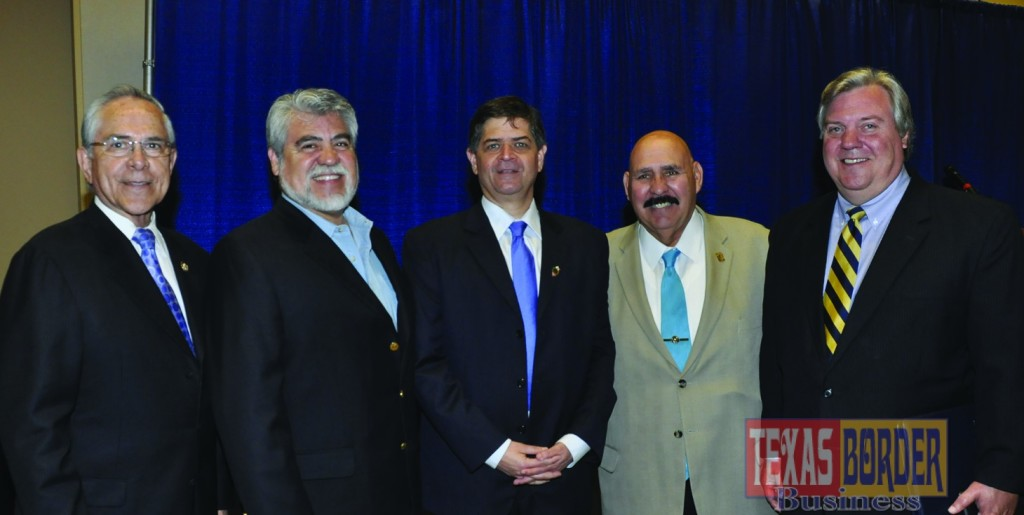 Mayor Chris Boswell works frequently with local and federal leaders. Pictured above from L-R: Congressman Rubén E. Hinojosa, 15th Congressional District; Mayor Richard Garcia, Edinburg; Congressman Filemon B. Vela, Jr., 34th Congressional District; former Mayor Raul Salinas, Laredo, Texas and Mayor Chris Boswell, Harlingen.  Photo by Roberto Hugo Gonzalez.