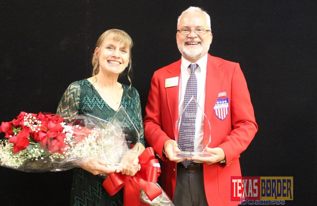 Pictured promoting the 2016 nominations are last year's 2015 Man and Woman of the Year. Flo Prater and Byron Jay Lewis were honored for their achievements and dedication to the community and received the 2015 Man & Woman of the Year awards at the Edinburg Chamber Annual Installation Banquet. Nominations will be accepted through Wednesday October 5, 2016.
