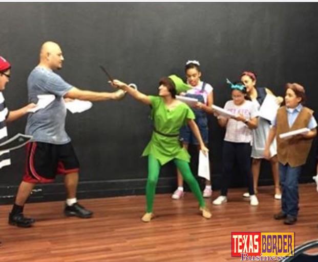 Adan Rodriguez, Briana Cruz, Rosalinda Garcia, Anya Poblano, Rosario Garcia and Rogelio Garcia rehearse a scene from Peter & Wendy playingNovember 17-20at the Pharr Community Theater.