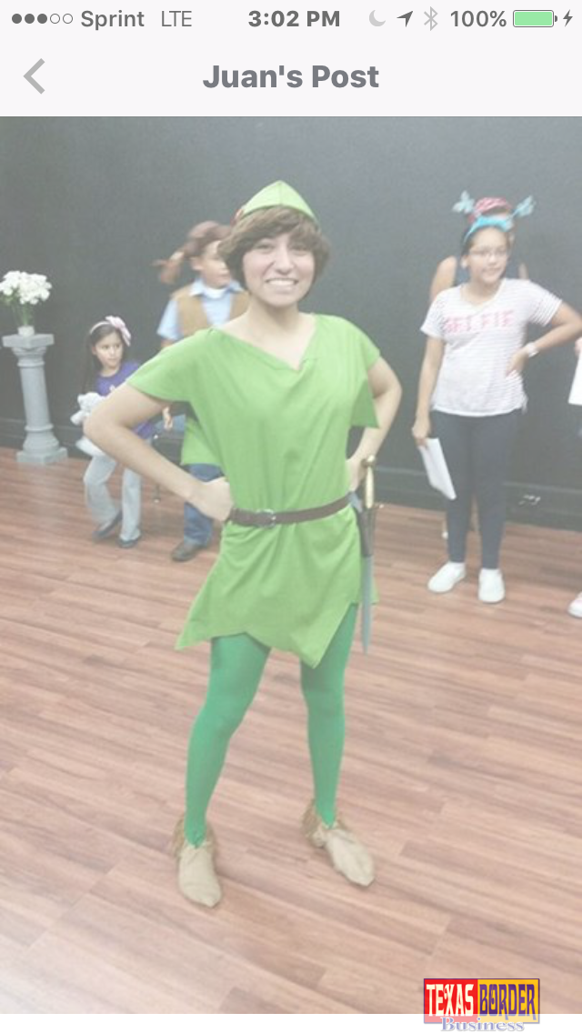 "Briana Cruz from La Feria will be Peter Pan, November 17 through November 20 at the Pharr Community Theater's play ""Peter & Wendy."""