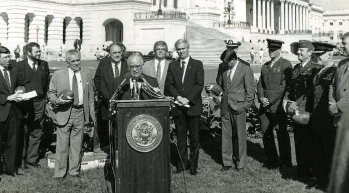 """U.S.Congressman Eligio de la Garza, at the podium, died recently at theage of 89, leaving a legacy of public service and meaningful legislation, including support for higher education initiatives that lives on today at UTRGV. In 2012, he donated the voluminous collection of his documents to then UT Pan American, a collection housed today at UTRGV.And in 2000, a scholarship fund was established to create the E. """"Kika"""" de la Garza Endowed Scholarship, for students interested in pursuing government or public service.(Courtesy of UTRGV Special Collections)"""