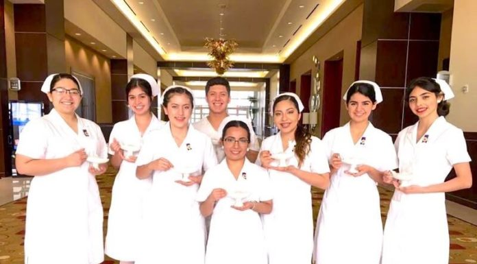 Pictured: A group of 8 seniors in the Nursing Career Pathway Program at PSJA ISD were honored by South Texas College during a Pinning Ceremony held at the Edinburg Conference Center at Renaissance on Friday, May 12, 2017. They are the first in the nation to graduate with their Nursing Associate Degree while in high school.