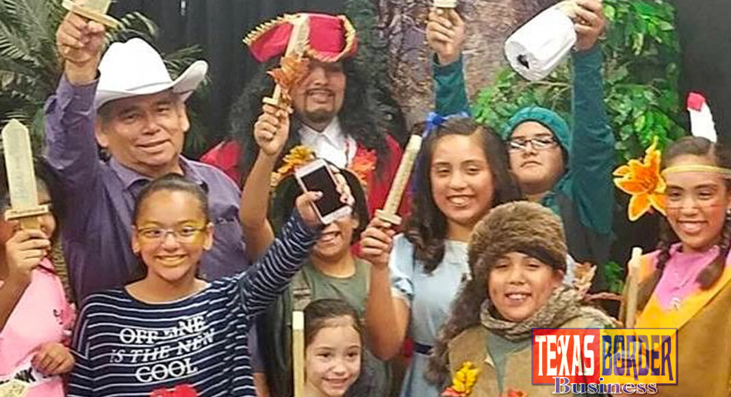 Student actors with their director, Juan Guerra, from the On Stage & More workshops at the Pharr Community Theater invite kids to register for the next six week session starting July 10 through August 19 in Pharr.