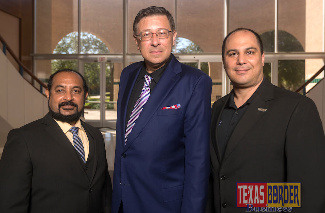 The UTRGV College of Engineering and Computer Science has received a grant from the Greater Brownsville Inceptives Corporation to lead the Manufacturing Innovations Hub (MIH) in Brownsville. Leading the project are, from left, Dr. Immanuel Edinbarough, interim associate dean for External Affairs and Innovation; Dr. Alexander Domijan, dean of the College of Engineering and Computer Science; and Dr. Constantine Tarawneh, director of the University of Transportation Center for Railway Safety and associate dean for Research. (UTRGV Photo by David Pike)