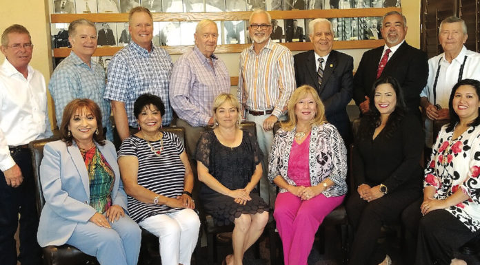 Edinburg Chamber of Commerce Former Presidents and Chairman of the Board celebrate their reunion. Pictured are (sitting): Cris M. Torres, Greater State Bank; Edna Pena, Gotta Love It; Letty Gonzalez, President Edinburg Chamber of Commerce; Elva Jackson Garza, Edwards Abstract and Title Co.; Dina Araguz, International Bank of Commerce and Cynthia Garcia Robles, Gold Financial Services. (Standing) Marty Martin, Rio Valley Realty; Mark Magee, Plains Capital Bank; Mitch Roberts (Formerly Roberts Chevrolet); Bob Gaston (formerly Bob Gaston Real Estate); Byron Jay Lewis, Edwards Abstract and Title Co.; Aaron Pena, Sr., Law Firm of Aaron Pena, Sr.; Johnny Rodriguez, Bert Ogden Dealership Group and Joe H. Ramon, formerly Joe H. Ramon Realty. Not pictured is Dr. Larry N, Balli, D.D.S.