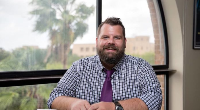 Andrew Hollinger, lecturer II in the Department of Writing and Language Studies at UTRGV, joins an elite group of 56 educators throughoutThe University of Texas System's academic and health institutions being honored this year with the 2017Regents' Outstanding Teaching Award. He was one of four UTRGV faculty members to earn this year's ROTA award. (UTRGV Photo byPaul Chouy)