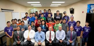 Empowering Boys Forum participants poise with panelist (left to right seating) Rene Ramon, Nario Cantu, Mike Sanchez, Dr. Luis Navarro, Marco Perez and Lee Castro.