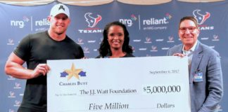Winell Herron, H-E-B Group Vice President Public Affairs, Diversity and Environmental Affairs, and Scott McClelland, President, H-E-B Food & Drug, presented J.J. Watt with a $5 million check on behalf of Charles Butt at NRG Stadium on Wednesday, Sept. 6. to benefit the Justin J. Watt Foundation's Houston Flood Relief Fund.