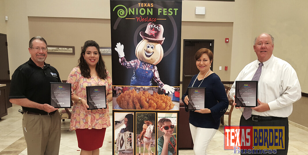 Weslaco Chamber's Texas Onion Fest received four first-place awards at the Texas Festivals and Events Association awards luncheon held in Fort Worth.  Pictured L-R: Daryl Smith, Smith Security Group, Texas Onion Fest Committee Chair; Laura Espinoza, Weslaco Chamber Marketing Director; Liz Gonzalez, Liz Gonzalez Designs and Doug Croft, Weslaco Chamber President/CEO.