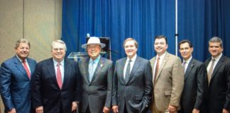 Attending from L – R: Paul Moxley, Texas Regional Bank; Jim Collins, Rioco; Texas Senator Juan Hinojosa; TxDOT Chairman J. Bruce Bugg Jr; Pete Alvarez, TxDOT Pharr District Engineer ; David Deanda, Lone Stare National Bank and Sergio Contreras, RGV Partnership.