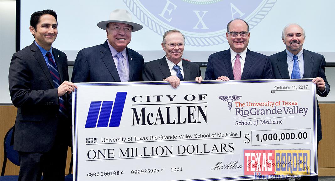 city of mcallen presents check to utrgv school of medicine - texas, Powerpoint templates
