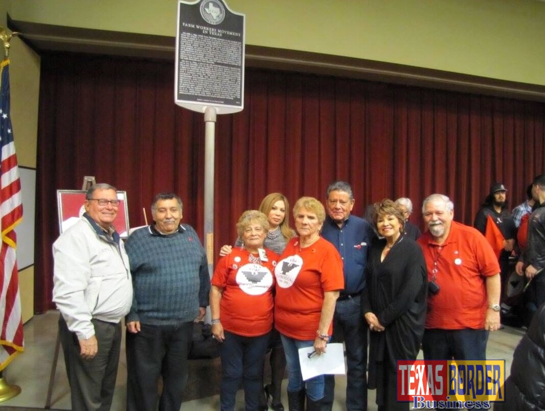 The Starr County Industrial Foundation together with former members of the United Farm Workers Movement and members of La Union del Pueblo Entero (LUPE) held an unveiling ceremony for a historical marker commemorating the birthplace of the 1966 Farm Workers Movement at the South Texas College (STC) Starr County Campus. In attendance were STC Board of Trustee members Dr. Alejo Salinas, Rose Benavidez and Graciela Farias.