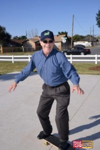 Jim Darling, McAllen Mayor as he skates showing off his moves. City Manager Roy Rodriguez watched every move from a short distance. Photo Roberto Hugo Gonzalez