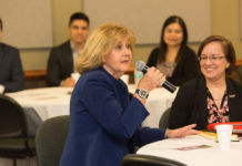 STC President Dr. Shirley A. Reed speaks during the college's inaugural South Texas Transfer Summit as Dr. Kristin Croyle, Vice President for Student Success at UTRGV, looks on. Throughout the summit, attendees focused on critical barriers and challenges within the transfer process. Coordination between administrators aims to develop strategies to improve transferring for students as well as future trends and opportunities for higher education in south Texas.