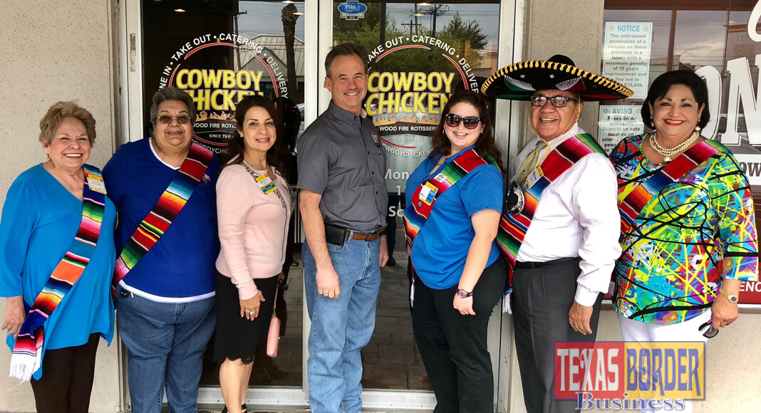 "Shown making plans for the ""Compadre Raid"" are Compadres left to right:  Toni Williams, Nilda Paxman, Gina Cruz, Alvie Britton, Cowboy Chicken owner; Jennifer Vasquez, Augie Lozano and Cynthia M. Sakulenzki, RGVHCC Pres/CEO."