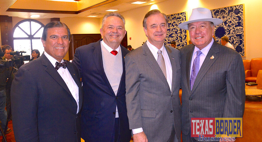 "From L-R: Texas Senator Eddie Lucio, Jr.; Robert Vackar, President Bert Ogden Auto Group RGV; Chancellor John Sharp, the new 2018 Border Texan of the Year and Texas Senator Juan ""Chuy"" Hinojosa. Photo Roberto Hugo Gonzalez"