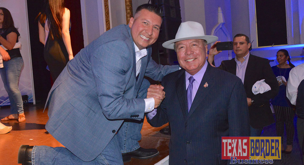 """Featured: Edinburg Mayor Richard Molina, left, welcomes Sen. Juan """"Chuy"""" Hinojosa, D-McAllen, on Thursday, April 19, 2018, following the mayor's State of the City Address, which took place in the Edinburg Municipal Auditorium, located at 415 W. McIntyre Street. Photograph By Roberto González"""