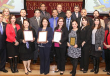 Edinburg CISD Board of Trustees recognize the Finance Department during a Feb. 13 board meeting.