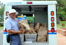 A letter carrier with the National Association of Letter Carriers is ready to pick up your food. Save the Date. Stamp Out Hunger is May 12! Thank you to Rio Grande Valley College for co-sponsoring paper bags this year. Volunteers are needed to sort the food; contact Carla Lopez at (956) 682-8101 or sign up at www.foodbankrgv.com.