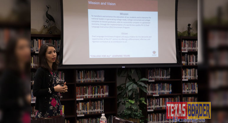 PSJA Dual Language Enrichment Program Director Olivia Martinez discussed the district's program model with San Antonio ISD attendees.