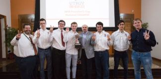 Pictured at center UTRGV President Guy Bailey, posing with the UTRGV Chess Team, who won the annual President's Cup national championship, known as the Final Four of College Chess competition, at the Marshall Chess Club in New York City on April 1. The university celebrated the first ever national championship win for the Chess Team on Friday, April 6, at the Brownsville Campus. The celebration will continue with the Chess Team on the Edinburg Campus at noon on Monday, April 9, at the Visitors Center. (UTRGV Photo by Veronica Gaona)