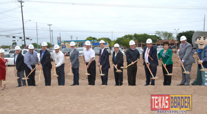 Alonzo Cantu, Chairman of Lone Star National Bank with friends and board members celebrating groundbreaking ceremony for the 3rd branch under construction. Photo by Roberto Hugo Gonzalez.