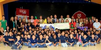Longoria - Students and staff at Longoria Elementary in PSJA ISD were surprised with a $10,000 check from H-E-B and Dole Food Company for winning the second 'Let's Get Growing Educational Program' competition on Friday, May 11.