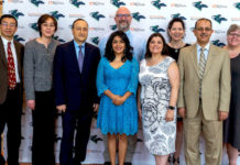 The University of Texas Rio Grande Valley honored more than 50 faculty members during its annual Faculty Excellence Awards, held Thursday, May 3, at the TSC Arts Center in Brownsville. The major awardees were (front row, from left) Yuanbing Mao, associate professor, Chemistry,Excellence in Research;Bin Wang, professor, Information Systems,Excellence in Teaching (Tenured/Tenure-Track);Karen Martirosyan, professor, Physics and Astronomy, Excellence in Student Mentoring; Teresa Patricia Feria Arroyo, associate professor, Biology, Excellence in Community Engaged Scholarship; Bonnie Gunn, lecturer II, Biology, Excellence in Teaching(Non-Tenure Track); and Dr.Ala Qubbaj, senior associate vice president for Faculty Affairs and Diversity; (back row, from left) Dr. Fred Zaidan, chair of the Department of Biology, accepting the award for his department for Excellence in Faculty Mentoring; Maria Elena Corbeil, associate professor, Teaching and Learning, Excellence in Service; and Amy Hay,associate professor, History, Excellence in Sustainability Education. (UTRGV Photo by David Pike)