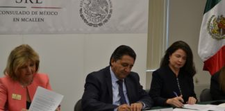 South Texas College, the University of Texas-Rio Grande Valley, and the Consulate of Mexico in McAllen will formalize an official IME Becas amendment to a Memorandum of Understanding (MOU) signed in December 2017. Left to right: STC President Dr. Shirley A. Reed; Mexican Consulate in McAllen Eduardo Bernal Martinez; and Rita Garza, director of operations at UTRGV, formalized an official IME Becas MOU last December to lay the foundation for a partnership seeking to increase the educational attainment of Mexicans or persons of Mexican origin living in the US.