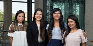 UTRGV education students (from left) Jimena Gamboa of La Feria, Clarissa Rodriguez of Weslaco, Kasandra Salinas of La Feria, and Clarissa Guerra of Edinburg, are among the seven UTRGV students named recipients of the Charles Butt Scholarship for Aspiring Teachers, under the Raise Your Hand Foundation. For this inaugural cohort, 100 students from 10 partnering universities in Texas were chosen from a pool of 350 candidates by means of a competitive selection process, which included a written application, interviews, group activities and demonstration of a teaching lesson. Each student receives an $8,000 scholarship each year for up to four years, as well as ongoing training, mentorship and networking opportunities facilitated by the Raise Your Hand Texas Foundation. Not shown are recipients Raquel Perez of Edinburg, Brenda Olvera of Brownsville, and Cristina Ortiz of Laredo. (UTRGV Photo by Paul Chouy)