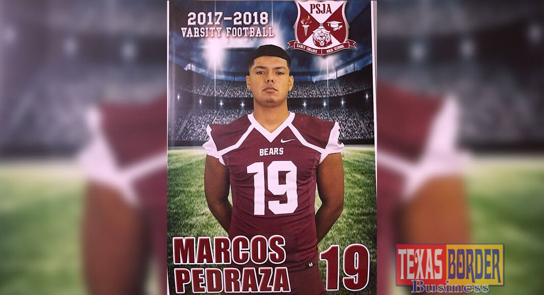 PSJA ECHS SeniorMarcos Pedraza Jr.wasselected for the highly competitive2018 Blue-Grey Football Super Regional Combine Circuit held at the AT&TStadiumin ArlingtonfromJune 2-3, 2018.