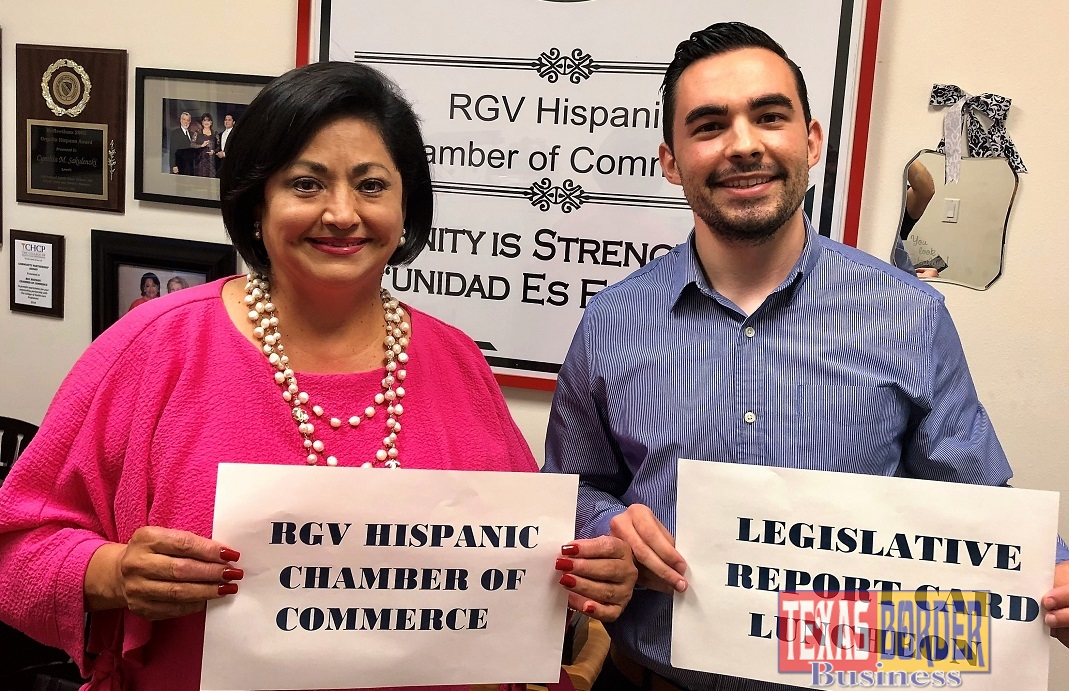 Shown are Mark Hanna, RGVHCC Vice Chair of Legislative affairs and Cynthia M. Sakulenzki, RGVHCC Pres/CEO.