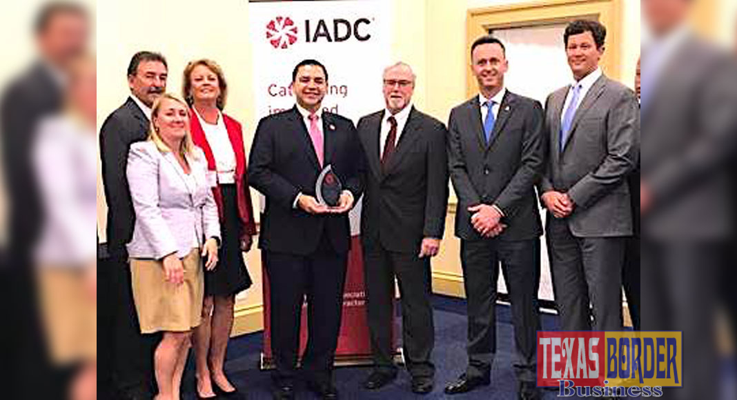 Congressman Henry Cuellar (TX-28) receives the Legislator Award from Chairman Steve Brady and James McFarland, President of the International Association of Drilling Contractors (IADC) for his support of the drilling contractor industry in the 115th Congress on Tuesday in Washington.