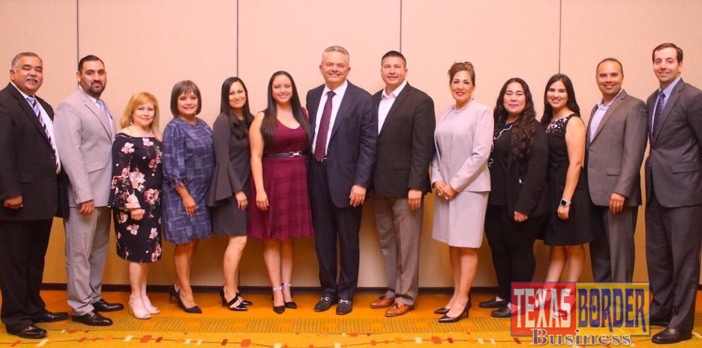 From left: Johnny Rodríguez (Bert Ogden Auto Group–Public Relations); Abel Garza (Wells Fargo); Marivel Valdez (Open Range Enterprises); Nydia M. Treviño (Memorial Funeral Home); Erica Pérez (RGV Town Planner); Mónica Ann Vega (Oceangate Hospitality); Robert C. Vackar (Bert Ogden Auto Group); Edinburg Mayor Richard Molina; Mary Lou Escobedo (Escobedo & Cárdenas, LLP); Maricruz Z. Nieto (Townplace Suites by Marriott); Priscilla C. Whiteaker (Farmers Insurance); Joe A. Delgado (Halff Associates); and John Mark Atchley (South Texas Health System Edinburg). Vackar and Molina were special guests for the graduation ceremony. Photograph By RONNIE LARRALDE