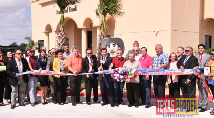 City of Alton celebrates ribbon cutting ceremony of its first banking institution. Lon Star National Bank made a commitment based on their visionary plan to serve small communities. Alonzo Cantu, Chairman; David Deanda, President and Alton's mayor Salvador Vela together in this historic event. Board members and staff from the bank also joined in the celebration. Photo By Roberto Hugo Gonzalez