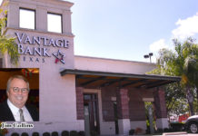 """""""The meaning of intent to merge, both Vantage Bank Texas and Inter National Bank are committed to continuing roles as actively engaged community partners and corporate citizens. As part of that commitment, their support of local nonprofits and civic organizations will continue. They emphasized that they will continue to make decisions locally and to exhibit a strong regional presence,"""" Jim Collins, trustee of the Collins Family Trusts. Pictured above is the Vantage Bank Texas located south 10th and Jackson in McAllen."""