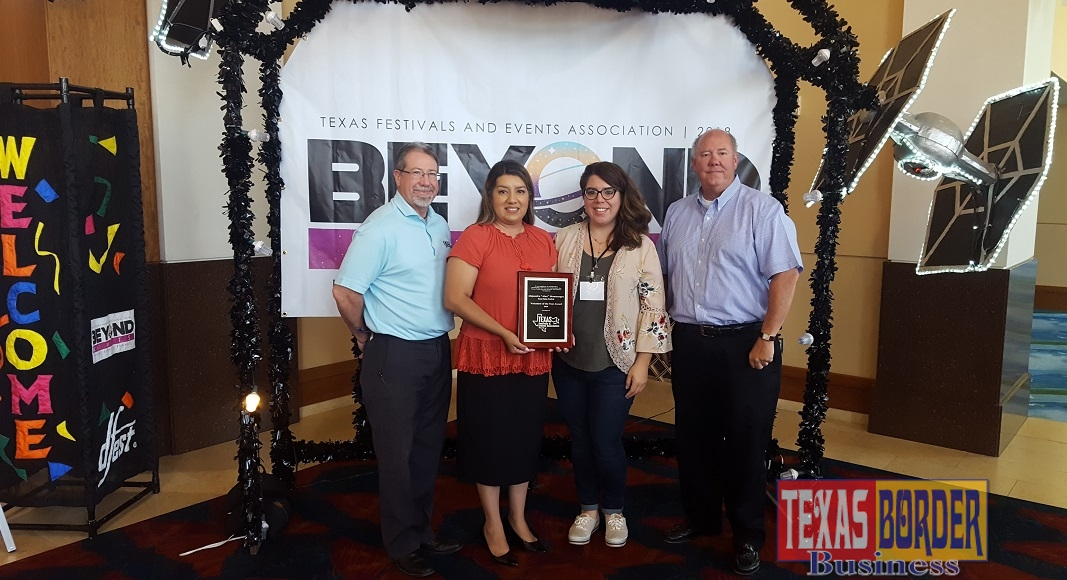 Alex Montenegro (second from left) was selected as the 2018 Volunteer of the Year by the Texas Festivals and Events Association. Also pictured: Daryl Smith, Texas Onion Fest Committee Chair; Laura Espinoza, Weslaco Chamber Marketing Director and Doug Croft, Weslaco Chamber President/CEO.