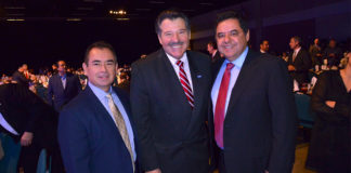 "Pictured above in the center Pete Saenz, mayor of Laredo Texas. Mayor Saenz is the chairman of the Texas Border Coalition (TBC). He will testify before the U.S. Senate Finance Subcommittee on International Trade, Customs and Global Competitiveness on Wednesday July 18, 2018. He is flanked from left to right by Roel ""Roy"" Rodriguez, McAllen City Manager and John D. Franz, former mayor of Hidalgo, Texas. Photo taken during Mayor Jim Darling McAllen State of the City early this year (2018). Photo by Roberto Hugo Gonzalez"