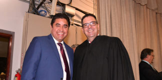 Pictured above, Hidalgo County District Attorney Ricardo Rodriguez and District Judge Jaime Tijerina a decorated Veteran and former prosecutor. Photo taken during the swearing ceremony of Judge Tijerina to take over Texas District 93. He was appointed to the position by Gov. Greg Abbott on June 19, 2018. District Criminal Attorney Rodriguez attended to the ceremony. The DA is very committed to bring to light the danger of human trafficking and to disseminate essential information on prevention of this horrendous crime. He is doing together with other dedicated and responsabilbe entities of South Texas and the state and they are; Rio Grande Valley Anti-Human Trafficking Taskforce, the Office of the Governor of Texas Child Sex Trafficking Unit, Homeland Security Investigations, U.S. Border Patrol Joint Taskforce West South Texas Corridor, Hidalgo County Sheriff's Office, City of Pharr, and the Humanitarian Respite Center of Catholic Social Services. Photo by Roberto Hugo Gonzalez