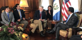 Pictured from left to right: U.S. Ambassador to Guatemala Luis Arreaga; Congressmen Vicente Gonzalez (TX-15) and Ruben Kihuen (NV-04); and Senator Bill Cassidy (R-LA) meeting with President of Guatemala Jimmy Morales.