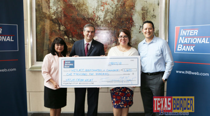 Inter National Bank presented the Weslaco Chamber of Commerce with a donation towards their annual Casino Night fundraiser. Pictured L-R: Oralia Tafolla, Vice President, SBA Lending Associate; Samuel J. Munafo, Inter National Bank, President & CEO; Laura Espinoza, Marketing Director, Weslaco Chamber of Commerce and Eric Rodriguez, Inter National Bank, Vice President, Senior IT Project Manager.