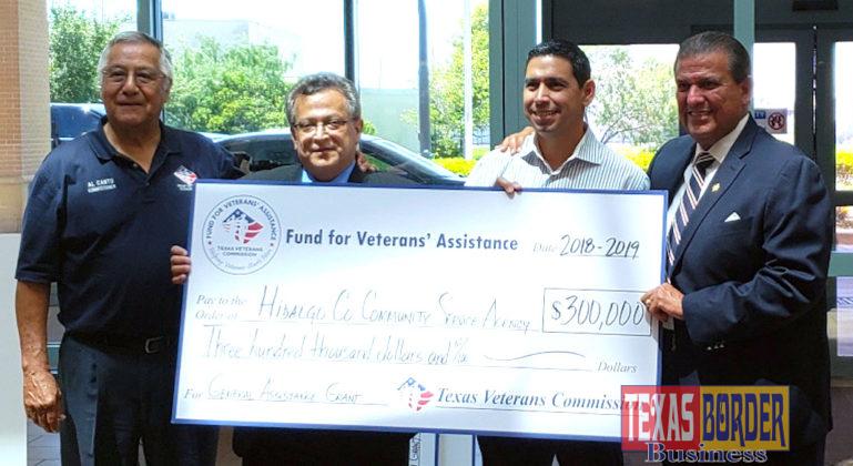 "(left to right) Texas Veterans Commission Chairman Eliseo ""Al"" Cantu, Community Service Agency Director Jaime Longoria, Precinct 1 Commissioner David L. Fuentes and State Senator Eddie Lucio."