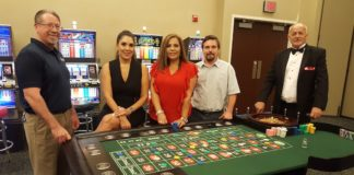 The Weslaco Chamber of Commerce will host its annual Vegas Casino Night on Saturday, September 22 at Knapp Conference Center. Pictured L-R: Weslaco Chamber board members Daryl Smith, Smith Security Group; Mari Aviles, Valley Grande Institute for Academic Studies; Vangie Saenz, Inter National Bank; Travis McDaniel, Valley Trophies. Also pictured: Gene Denby, RGV Las Vegas Nights.