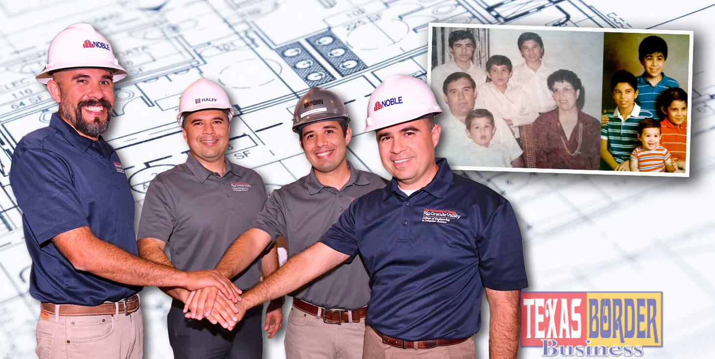 Pictured above, from L to R: Eric Delgado, Manufacturer Engineer works at Noble Texas Builders; Jose Delgado Electrical Engineer works at Halff Associates; Adrian Delgado, Mechanical Engineer, works at Vaughn Construction and Juan Delgado, also an Electrical Engineer, he works at Noble Texas Builders. Photo by Roberto Hugo Gonzalez