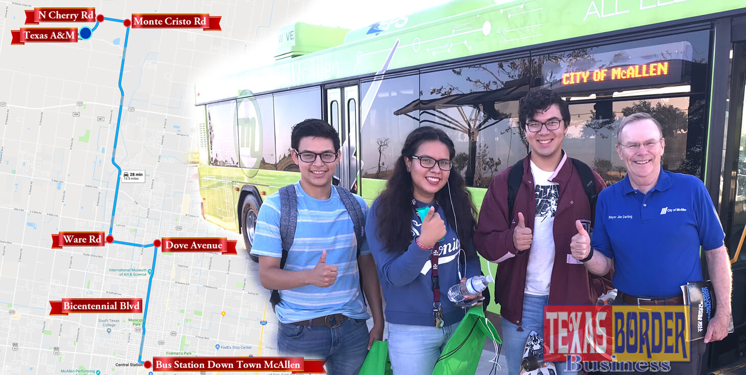 Arrived! Metro McAllen Texas A&M newest satellite stop at Tres Lagos Community Development. It takes about 30 minutes to ride Metro McAllen Route 8. It is about 121 miles in distance. Pictured students of the Texas A&M University with McAllen Mayor Jim Darling. Photo by Roberto Hugo Gonzalez