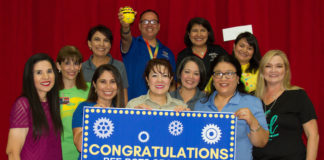 Pharr -At Kelly-Pharr Elementary the $598.41 will go toward purchasing nine Bee-Bots that willhelp students as young as kinderlearn concepts like counting, sequencing, estimation, and problem-solving in fun and interactive ways.Pictured are the school's Kinder teachers with PSJA Education Foundation Board of Directors Laura De La Garza and Melissa Diaz, as well as Principal Lydia Trevino, Assistant Principal JessicaVillanueva, Collaborative Learning Leader Paloma Padilla and PSJAScience Coordinator Susana Ramirez.